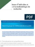 Les criteres d'Individus et societies et la methodologie de recherche