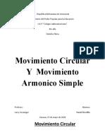 Movimiento Circular Y  Movimiento Armonico Simple