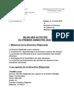 Rapport d'Activités Du 1er Semestre 2020