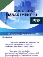 Production Management - I