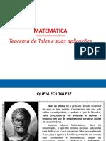 Aplicações do Teorema de Tales, dia 18-03-2021