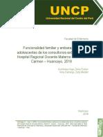 Funcionalidad Familiar y embarazo en adolescentes de los consultorios externos del Hospital Regional Docente Materno Infantil El Carmen