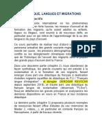 Didactique Langue Et Migration