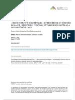 Biens Communs Scientifiques Et Recherche en Sciences de La Vie Structure, Fonction Et Valeur de