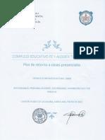 PLAN DE RETORNO A CLASES 2021