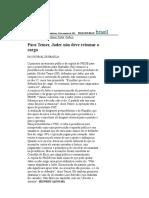 Folha de S.Paulo - Para Temer, Jader não deve retomar o cargo - 10_09_2001