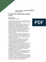 Folha de S.Paulo - Presidente do PMDB ganha palanque em SP - 10_09_2001