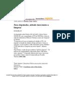 Folha de S.Paulo - Para deputados, atitude dará início a limpeza - 10_09_2001