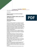Folha de S.Paulo - Ministério Público inicia ação contra oito federações - 10_09_2001