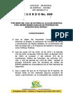 ACUERDO VENTA DE EJIDOS DEL ESPINAL SANCION