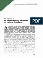 Cameroun : du développement autocentré au national-libéralisme
