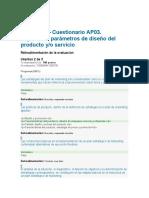 AP03-EV02- Cuestionario AP03. Especificar Parámetros de Diseño Del Producto o Servicio