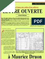 FRF Lettre Ouverte a Michel Druon