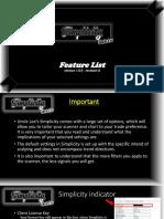 Simplicity Feature List Ver1.0 RevA