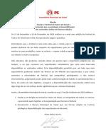 PS - Moção Saudar o Festival de Teatro do Seixal e recomendar que se privilegie a disponibilização dos conteúdos online em futuras edições