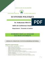 Module III Analyse de l'activité économique