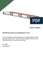 Master Craft Cast Aluminum Levels