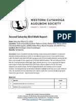 Second Saturday Bird Walk Rocky River Nature Center Report March 13, 2021