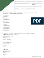 Atividade de Português Estrutura e Formação de Palavras 9º Ano Modelo Editável