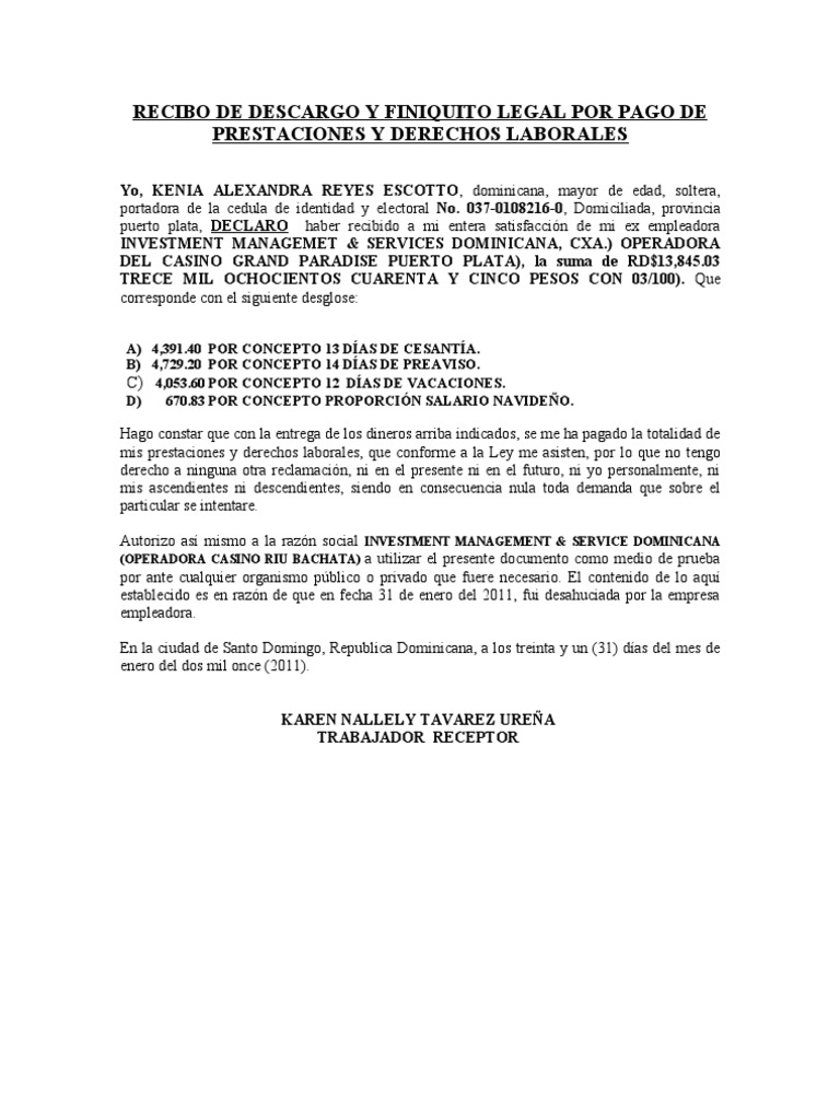 RECIBO DE DESCARGO Y FINIQUITO LEGAL POR PAGO DE