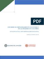 Informe Empoderamiento Economico Mujeres Colombia Situacion Actual
