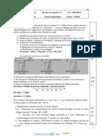 Devoir de Contrôle N°1 - Sciences physiques - 3ème Math (2014-2015) Mr Ramzi Rebai