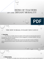 Well- being of teachers in the distant modality