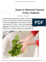 Como higienizar frutas e legumes