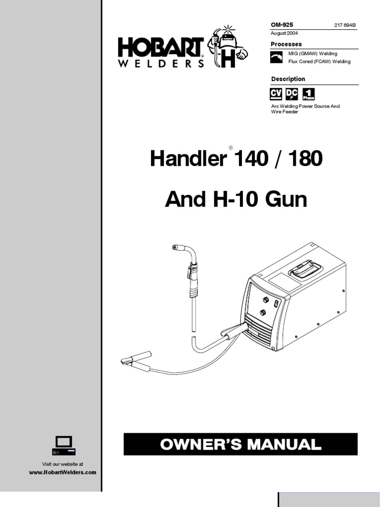 Handler 140 / 180 and H-10 Gun Owner\'s Manual | Welding ...
