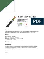 cable electrique 4x1.5mm rvfv RM