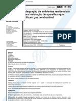 NBR 13103 - Adequacao de Ambientes Residenciais para Instalacao de Aparelhos que Utilizam Gás Combustivel