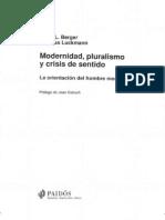 2 Modernidad, pluralismo y crisis de sentido[1]