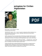 US General Apologizes for Civilian Deaths in Afghanistan