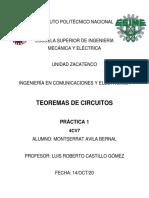 PRACTICA 1 - TEOREMAS DE CIRCUITOS ELECTRICOS - ESIME ZACATENCO