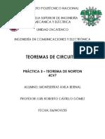 PRACTICA 3 - TEOREMAS DE CIRCUITOS ELECTRICOS - ESIME ZACATENCO