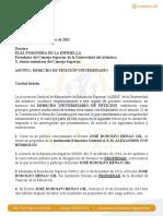 Derecho de Petición Contra José Henao Gio Rector Encargado Al CSU 18-03-21-