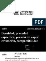 TEMA 01 Densidad, gravedad específica, presión de vapor, cavitación, compresibilidad