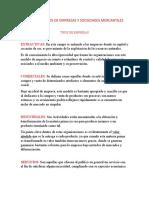 REFLEXION TIPOS DE EMPRESAS Y SOCIEDADES MERCANTILES
