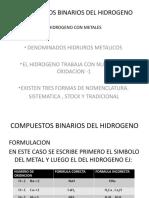 COMPUESTOS BINARIOS DEL HIDROGENO