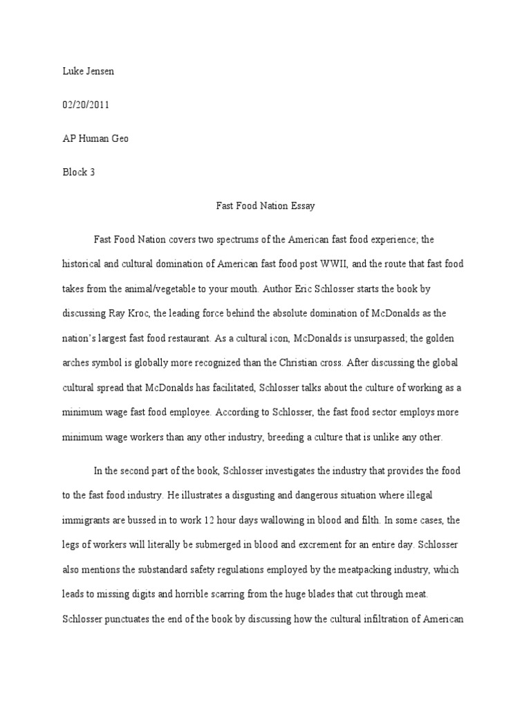 fast food nation essay
