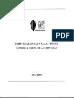Memoria anual de Perú Real Estate S.A.A. del año 2000 -SMV
