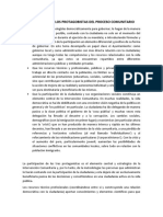 EXPLICACION DE LOS PROTAGOBISTAS DEL PROCESO COMUNITARIO