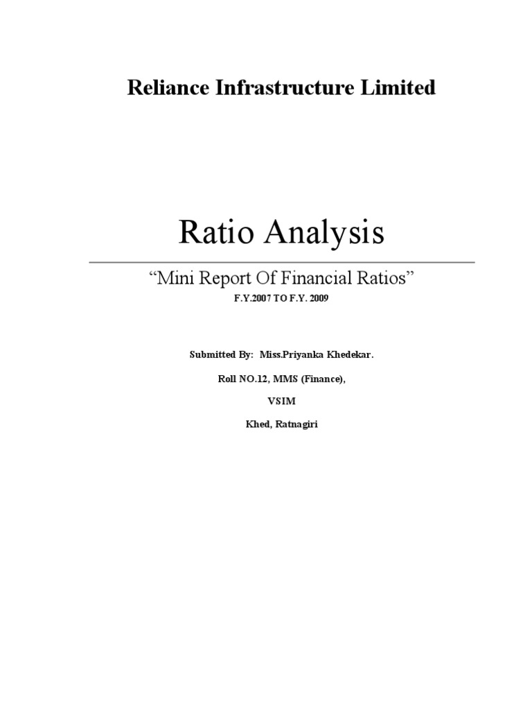 project report on ratio analysis