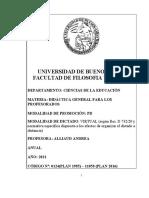 Didáctica General para los Profesorados (Alliaud)