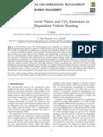 Analysis Travel Times CO2 Emission VRP