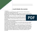 Relatorio de reactividade dos metais
