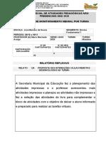 Relatório de Monitoramento Mensal Do Professor Aulas Remotas