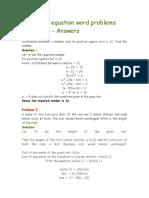 Quadratic Equation Word Problems Worksheet