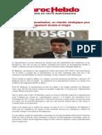 La Régionalisation, Un Chantier Stratégique Pour Réaliser Un Développement Durable Et Intégré