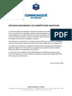 Le communiqué de La Fédération française de football